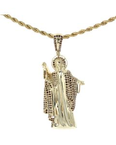 14K Yellow Gold Diamond Jesus Pendant Religious Charm With Beautiful Red Diamonds 1.3ctw