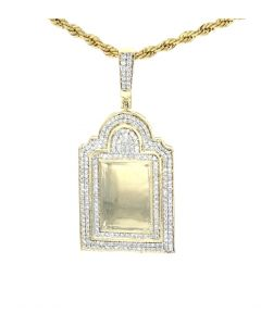 14K Yellow Gold Diamond Picture Frame Tomb Stone Charm Pendant With 1.46ctw