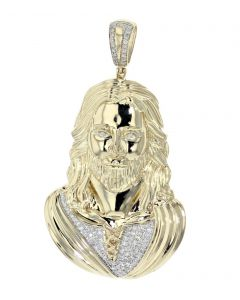 14K Yellow Gold Jesus Pendant Jesus Head Charm Pendant 0.78ctw Diamonds Sculptured 3D Custom