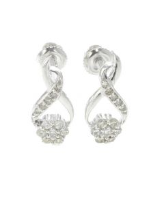 10K White Gold Diamond Drop Earring Beautiful Earring For Her With 0.27ctw Round Diamonds