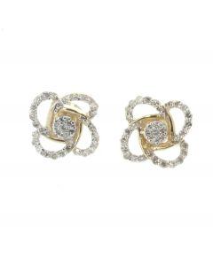 10K Yellow Gold Rose Patel Flower Design Diamond Earring With 0.33ctw Round Diamonds