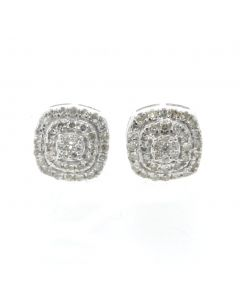 10K White Gold Earrings Beautiful Diamond Earring With Square Cluster With 0.51ctw Round Diamonds
