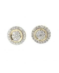 10K Yellow Gold Round Cluster Diamond Earring With 0.44ctw Round Diamonds