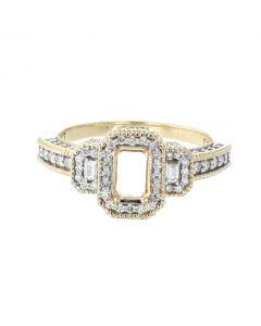 14K Yellow Gold Engagement Ring Semi Mount Fits 1ct Emerald Cut 0.70ctw Diamonds