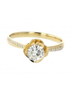 18K Yellow Gold Diamond Ring With Rose Petal Base Semi Mount Setting Ring 0.07ctw Round Diamonds