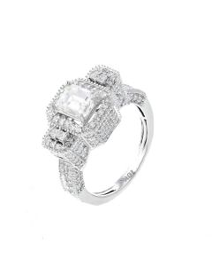 14K White Gold Engagement Ring For Her Semi Mount Setting Ring Fits 1.00ctw Emerald Cut Diamond With 0.99ctw Diamonds