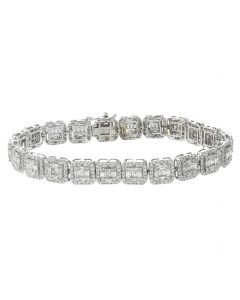10K White Gold Beautiful Fancy Bracelet For Mens With Baguettes and Round Diamonds 7.46ctw