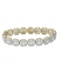 14K Yellow Gold Fancy Diamond Bracelets For Men With Baguette and Round Diamonds 6.49ctw