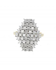 14K Yellow Gold Princess Cut Diamonds Honey Comb Cluster Cocktail Ring With 1.38ctw