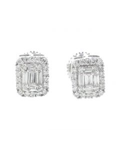 14K White Gold Beautiful Earrings With Round and Baguette 0.39ctw Diamonds
