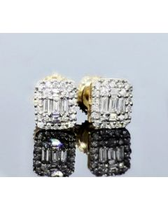 14K Yellow Gold and Diamonds Earrings Beautiful Earrings With Baguette and Round Diamonds 0.4ctw