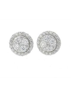 10K Yellow Gold Beautiful Diamond Earrings For Men and Women With 1.5ctw Round Diamonds
