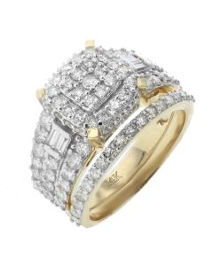 Yellow Gold 14K Beautiful Engagement Ring Set For Her With 1.94ctw Round and Baguette Diamonds