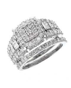 White Gold 14K Beautiful Engagement Ring Set For Her With 1.94ctw Round and Baguette Diamonds