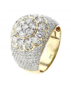 14K Yellow Gold Pinky Ring With Large Domed Cluster For Men With 3.63ctw Round Diamonds