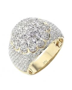 14K Yellow Gold Diamonds Men Pinky Ring With Big Domed Cluster With 1.9ctw Round Diamonds