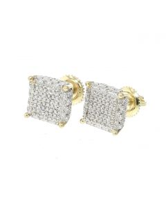 10K Yellow Gold Diamond Earring Large Square Cluster With 0.54ctw Diamonds