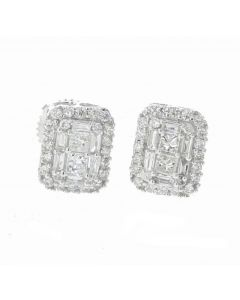 14K White Gold Earrings With Round and Baguette Diamonds Beautiful Earrings with 0.63ctw Diamonds