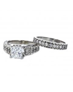 14K White Gold Beautiful Engagement Ring Set For Her With CZs
