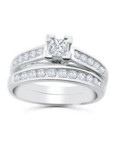 10K White Gold Bridal Set Princess Cut Solitaire Center 1.00ctw Engagement Ring Set