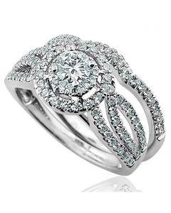 14K White Gold Halo Style Bridal Wedding Ring Set 10mm Wide Split Shoulder 2pc