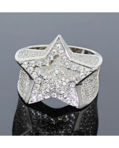 Mens Ring Super Star 5 Point Star Ring for Guys White Gold-Tone Silver 19mm Pinky Ring