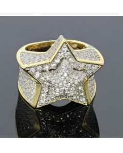 Mens Ring Super Star 5 Point Star Ring for Guys Yellow Gold-Tone Silver 19mm Pinky Ring