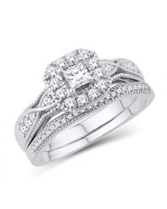 14K WHITE GOLD CERTIFIED WEDDING RING SET 0.5CTW PRINCESS CUT DIAMOND 2PC SET