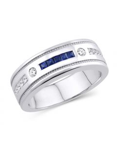 BLUE SAPPHIRE AND DIAMOND WEDDING BAND MENS WHITE GOLD GOLD 8MM 1.20CT 14K WHITE
