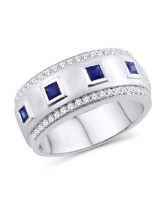 WEDDING BAND MENS DIAMONDS AND BLUE SAPPHIRE WIDE 1.2CT 14K WHITE GOLD RING 8MM