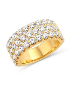 3CT DIAMOND BAND STYLE RING WOMENS 14K GOLD 3 ROWS OF DIAMONDS WIDE WEDDING BAND