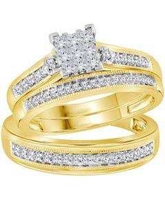 10K Gold Wedding Trio Rings Set Princess Cut Diamonds His and Her 3pc 1/2ctw