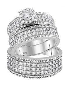 10K White Gold Trio Set His and Her Wedding Rings Set 3pc 7/8ctw Diamonds