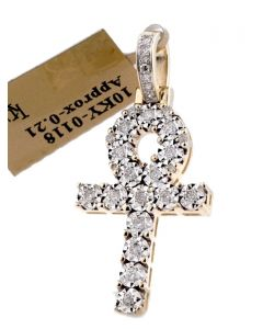 10K GOLD EGYPTIAN CROSS REAL DIAMOND ANCH MENS WOMENS SMALL SIZE 33MM 0.21CTW