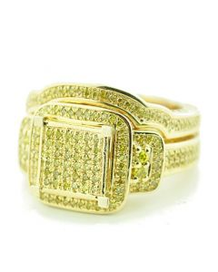 Yellow Diamond Bridal Set Canary 1/2ctw Engagement Ring and Band Set Extra Wide Yellow Gold-Tone Silver
