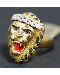 LION FACE RING LION KING YELLOW BLACK WHITE DIAMONDS MENS PINKY 1.2CT 100% REAL