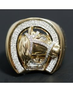 10K GOLD HORSE SHOE RING MENS 0.5CT SOLID GOLD XL PINKY FASHION RING REAL GOLD