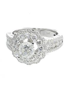 2.53ctw Diamond Engagement Ring 14K White Gold Halo Style Large 13.5mm Wide 1CT Round Solitaire Center