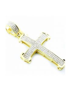 Mens Cross Charm 10K Gold 0.4ctw Diamonds 40mm Tall