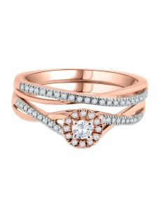 14K Rose Gold Bridal Set Infintiy Style Round Solitaire Center With Halo 1/3ctw