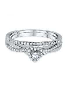 10K Gold Bridal Set Diamond Ring Set Engagement Ring and Band 0.16CT