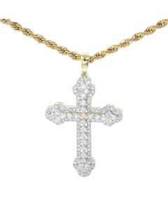 14K Yellow Gold Diamond Cross Charm Pendant With 1.50ctw Round Diamonds
