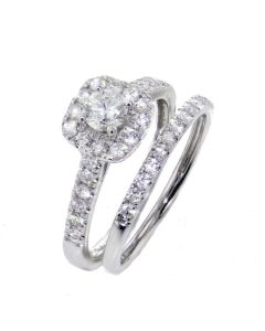 1.00CTW Diamond Ring and Band Set Halo Style 10K White Gold or Yellow Gold