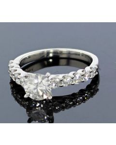 1.70ctw Diamond Engagement Ring Platinum With Round Cut Diamonds VVS1-I Certified 1CT Ctr Lab-Grown Diamond