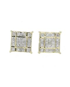 10K Yellow Gold Wide Earring For Men and Women With 1/3ctw Diamonds