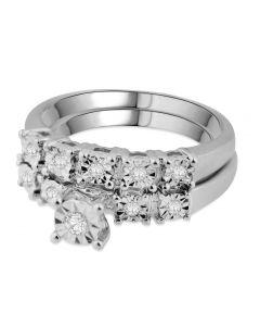 10K White Gold Bridal Set Diamond Ring Set Engagement Ring and Band 0.16ct