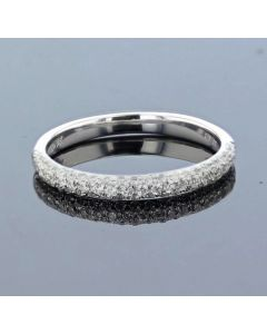14k White Gold Wedding Band Anniversary Ring 0.33ct Diamond Band Style Domed