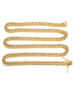 Mens Hollow Cuban Link Chain in 14k Yellow Gold 28 INCH