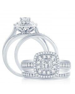 Extra Wide Princess Cut Halo Wedding Ring Set 14K White Gold 1.12ctw Diamonds 12mm 2pc