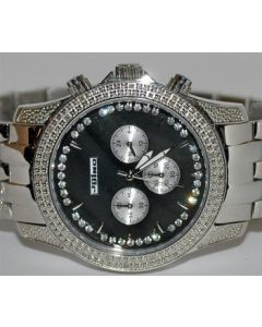 MENS DIAMOND JOJINO WATCH 46MM 0.25CT STAINLESS BLACK PEARL DIAL
